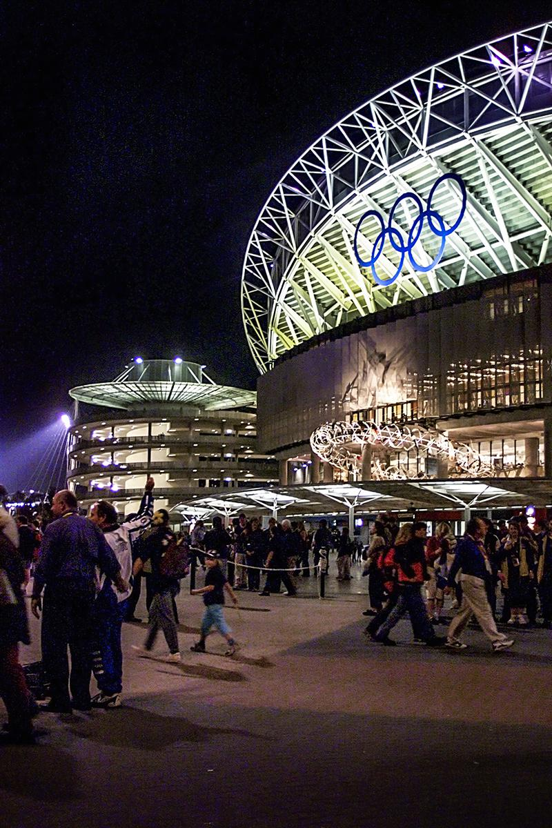 Night View of the outside of the Sydney Olympic Stadium